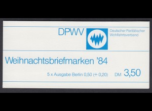 Berlin Parität. Wohlfahrtsverband Markenheftchen 5x 729 50+ 20 Pf 1984 **