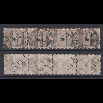Dt. Reich 326 A 4er Streifen mit Firmenlochung Rosetten 2 Mrd M gestempelt