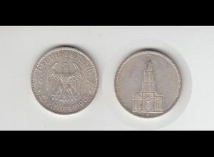 Silbermünze 5 RM Garnisonkirche 1934 G Jäger Nr. 357/5 ohne Datum