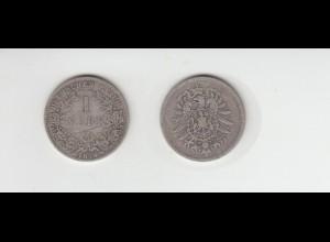 Silbermünze Kaiserreich 1 Mark 1874 D Jäger Nr. 9 /117