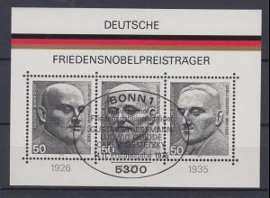 Bund Block 11 Deutsche Friedensnobelpreisträger 3x 50 Pf ESST Bonn