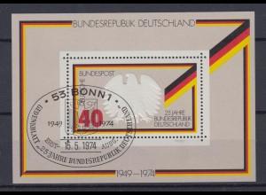 Bund Block 10 25 Jahre Bundesrepublik Deutschland 40 Pf ESST Bonn