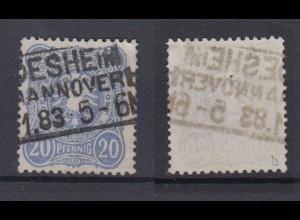 Deutsches Reich 42b Reichsadler im Oval 20 Pf gestempelt Farbgeprüft /2