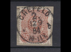 Deutsches Reich 43 Reichsadler im Oval 25 Pf gestempelt auf Briefstück