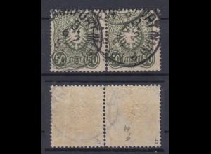 Deutsches Reich 44b Paar Reichsadler im Oval 50 Pf gestempelt Farbgeprüft