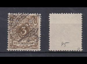 Deutsches Reich 45a Wertziffer Krone im Perlenoval 3 Pf gestempelt Farbgeprüft/1