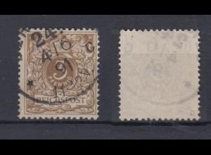 Deutsches Reich 45a Wertziffer Krone im Perlenoval 3 Pf gestempelt Farbgeprüft/2