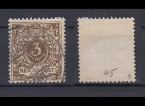 Deutsches Reich 45a Wertziffer Krone im Perlenoval 3 Pf gestempelt Farbgeprüft/3