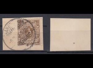 Deutsches Reich 45a Wertziffer Krone im Perlenoval 3 Pf gestempelt Farbgeprüft