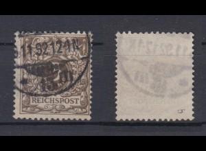 Deutsches Reich 45b Wertziffer Krone Perlenoval 3 Pf gestempelt Farbgeprüft /1
