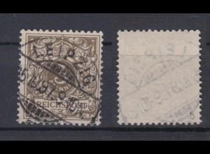 Deutsches Reich 45b Wertziffer Krone Perlenoval 3 Pf gestempelt Farbgeprüft /2