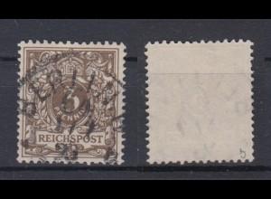 Deutsches Reich 45b Wertziffer Krone Perlenoval 3 Pf gestempelt Farbgeprüft /5