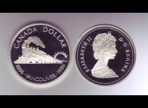 Silbermünze Kanada 1 Dollar 1986 Vancouver polierte Platte