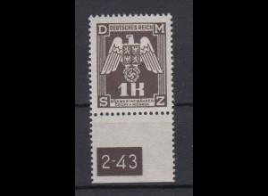Böhmen + Mähren Dienstmarken D 18 mit Unterrand und Platten Nr. 1 K postfrisch
