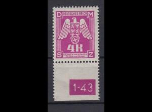 Böhmen + Mähren Dienstmarken D 23 mit Unterrand und Platten Nr. 4 K postfrisch