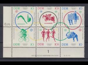 DDR 1039-1044 Zusammendrucke mit Druckvermerk Olympische Sommerspiele postfrisch