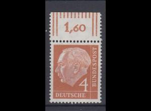 Bund 178 mit Oberrand Theodor Heuss 4 Pf postfrisch