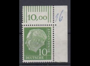 Bund 183 Eckrand rechts oben Theodor Heuss 10 Pf postfrisch