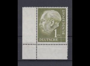 Bund 194 Eckrand links unten Theodor Heuss 1 DM postfrisch mit Knick