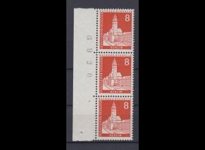 Berlin 187 Bogennummer 3er Streifen Berliner Stadtbilder 8 Pf postfrisch