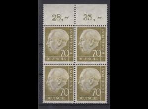 Bund 191 mit Oberrand 4er Block Theodor Heuss 70 Pf postfrisch /1