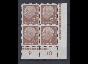 Bund 180v Eckrand rechts unten 4er Block Theodor Heuss 6 Pf postfrisch