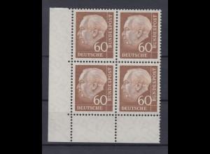 Bund 262 xw Eckrand links unten 4er Block Theodor Heuss 60 Pf postfrisch