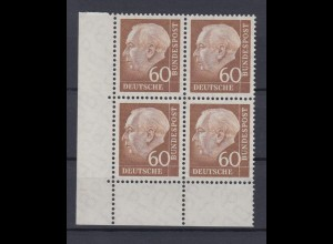 Bund 262 xw Eckrand links unten 4er Block Theodor Heuss (II) 60 Pf postfrisch