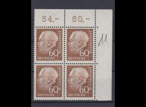 Bund 262 xw Eckrand rechts oben 4er Block Theodor Heuss 60 Pf postfrisch