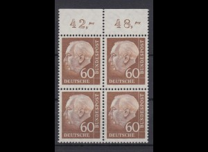 Bund 262 xw 4er Block mit Oberrand Theodor Heuss (II) 60 Pf postfrisch