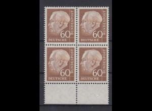 Bund 262 xw 4er Block mit Unterrand Theodor Heuss (II) 60 Pf postfrisch