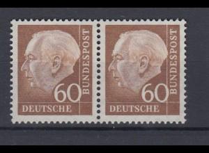 Bund 262 xw waagerechtes Paar Theodor Heuss (II) 60 Pf postfrisch