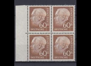 Bund 262 xw 4er Block mit Seitenrand links Theodor Heuss (II) 60 Pf postfrisch