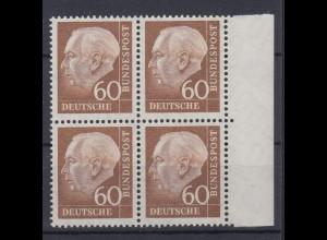 Bund 262 xw 4er Block mit Seitenrand rechts Theodor Heuss (II) 60 Pf postfrisch