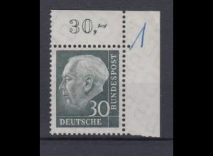 Bund 259w Eckrand rechts oben Bundespräsident Theodor Heuss 30 Pf postfrisch