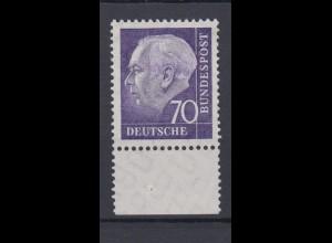 Bund 263 w mit Unterrand Bundespräsident Theodor Heuss (II) 70 Pf postfrisch