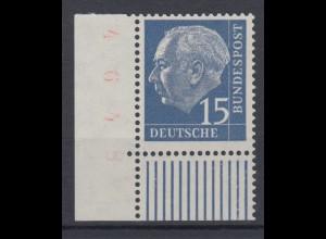 Bund 184y Eckrand links unten Theodor Heuss 15 Pf postfrisch fuoresz. Papier