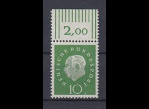 Bund 303 mit Oberrand Bundespräsident Heuss 10 Pf postfrisch