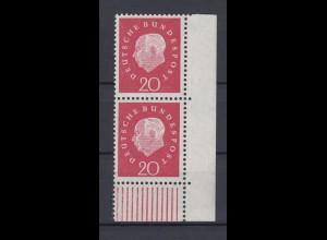 Bund 304 Eckrand rechts unten senkrechtes Paar Bundespräsident Heuss 20 Pf **