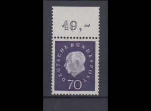 Bund 306 mit Oberrand Bundespräsident Theodor Heuss 70 Pf postfrisch /1