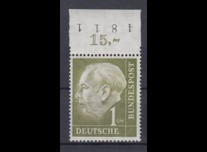 Bund 194 mit Oberrand Bundespräsident Theodor Heuss 1 DM postfrisch /1