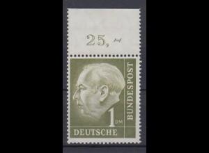 Bund 194 mit Oberrand Bundespräsident Theodor Heuss 1 DM postfrisch /2