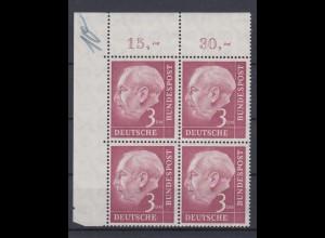 Bund 196 Eckrand links oben 4er Block Bundespräsident Theodor Heuss 3 DM ** /1