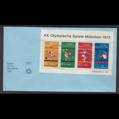 Bund Brief mit Block 8 Olympische Spiele München 1972 ESST München 18.08.1973