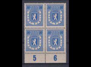 All. Besetzung Berlin 6A 4er Block mit Unterrand Berliner Bär 20 Pf postfrisch