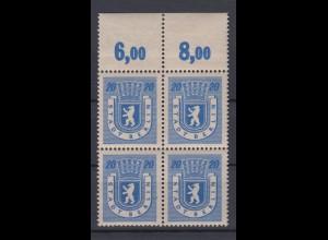 All. Besetzung Berlin 6A 4er Block mit Oberrand Berliner Bär 20 Pf postfrisch