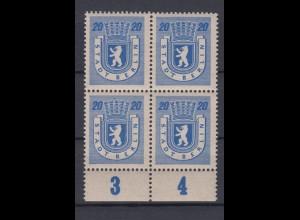 All. Besetzung Berlin 6A Plf. IV 4er Block mit Unterrand Berliner Bär 20 Pf **