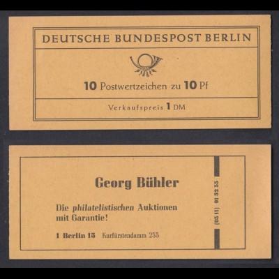 Berlin Markenheftchen 3d RLV I Bedeutende Deutsche 10 Pf postfrisch