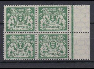 Danzig 154 4er Block mit Seitenrand rechts Großes Staatswappen 50 000 M **