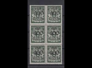 Danzig 161 6er Block Freimarken mit schwarem Bdr. Aufdruck 400 T auf 100 M **